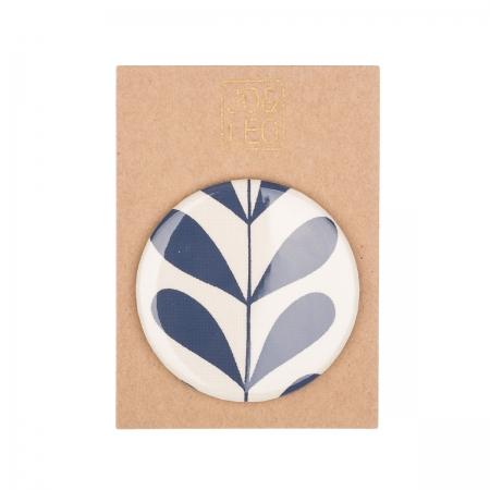 Taschenspiegel, handbedruckte Baumwolle, Ranke dunkelblau, Design by JO&LEO