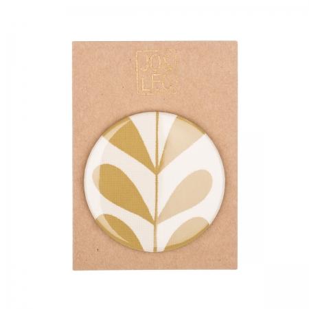 Taschenspiegel, handbedruckte Baumwolle, Ranke ocker, Design by JO&LEO