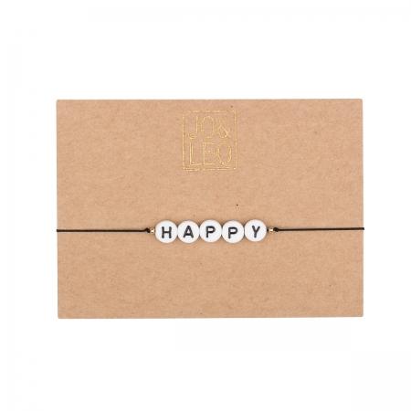 handgefertigtes zartes Armband,  HAPPY, Buchstabenperlen,Design by JO&LEO