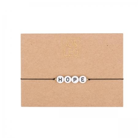 handgefertigtes zartes Armband,  HOPE, Buchstabenperlen, Design by JO&LEO