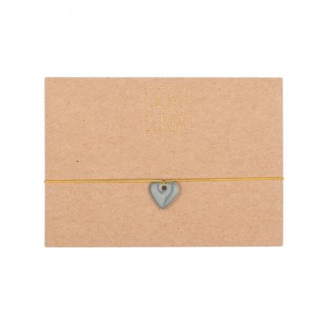 handgefertigtes zartes Armband, kleines graues Herz, Emailleanhänger, Design by JO&LEO