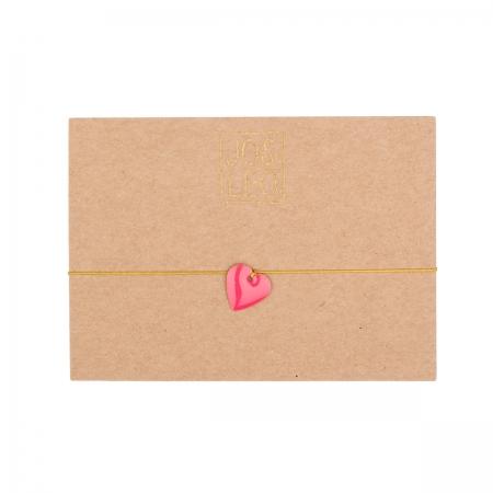 handgefertigtes zartes Armband, kleines pinkes Herz, Emailleanhänger, Design by JO&LEO