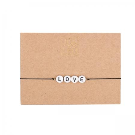 handgefertigtes zartes Armband,  LOVE, Buchstabenperlen, Design by JO&LEO