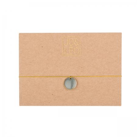 handgefertigtes zartes Armband, runder grauer Emailleanhänger,  Design by JO&LEO