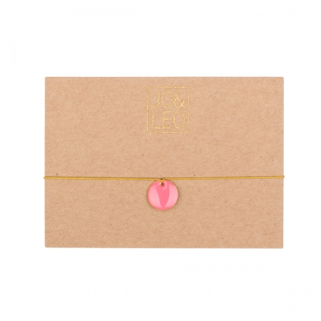 handgefertigtes zartes Armband, runder pinker Emailleanhänger,  Design by JO&LEO