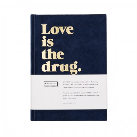 Notizbuch DIN A5 LOVE IS THE DRUG Navucko navy gold